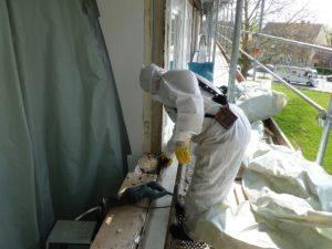Fasermessung asbesthaltiger Kitt
